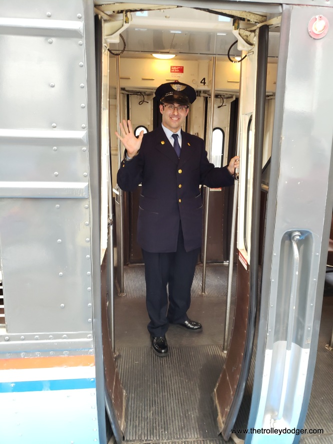 Graham Garfield is CTA's General Manager, RPM (Red and Purple Lines Modernization Project) Operations & Communication Coordination. He also serves as the CTA's historian, and was a conductor on this trip. Nowadays, CTA trains are run by only one person, but this trip was handled the old fashioned way, and Graham was outfitted as usual in a period-correct uniform.