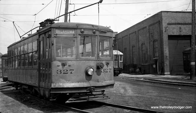 This picture, taken on June 16, 1947, shows a Birney car owned by the North Shore Line at the Harrison Street shops in Milwaukee. The tiny streetcar was built by Cincinnati Car Company in 1922, and was used in city streetcar service on the 5th-6th Streets line by the interurban.