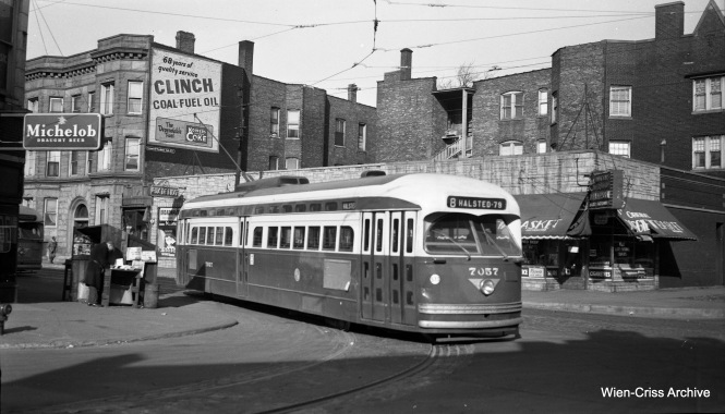 CTA PCC 7057, a product of the St. Louis Car Company, is at Waveland and Halsted, the north end of Route 8. (Wien-Criss Archive)