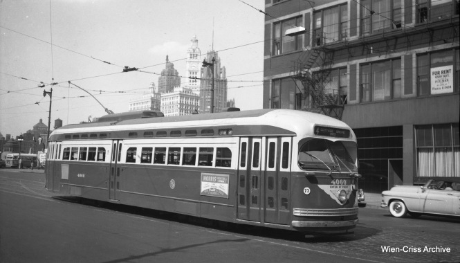 CTA 4060 is southbound at Wabash and Wacker, running on Route 4 - Cottage Grove. (Wien-Criss Archive)