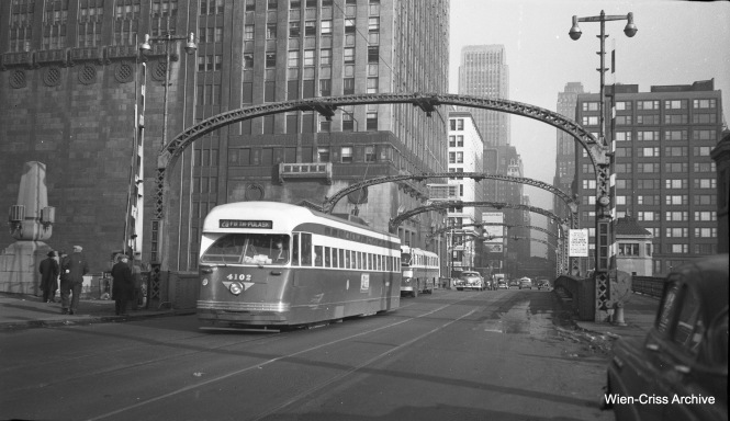 CTA 4102, a Pullman PCC, is heading west at about 500 W. Madison, operating on the Madison-Fifth branch of Route 20. (Wien-Criss Archive)