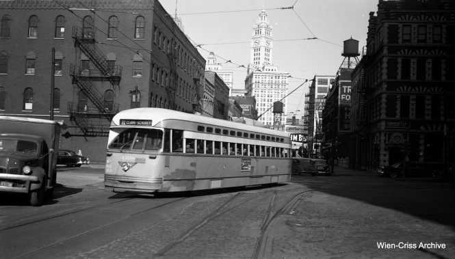 CTA PCC 4108 is northbound at Kinzie Street. This was later the end of the line for the Wentworth half of the line, between 1957 and 1958, when buses replaced streetcars north of here. (Wien-Criss Archive)