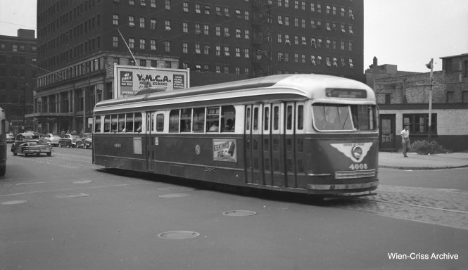 CTA prewar PCC 4008 is southbound on Wabash at about 900 South. The YMCA Hotel, seen in the background, opened in 1916 and closed in 1979. It was converted to apartments in 1985. (Wien-Criss Archive)