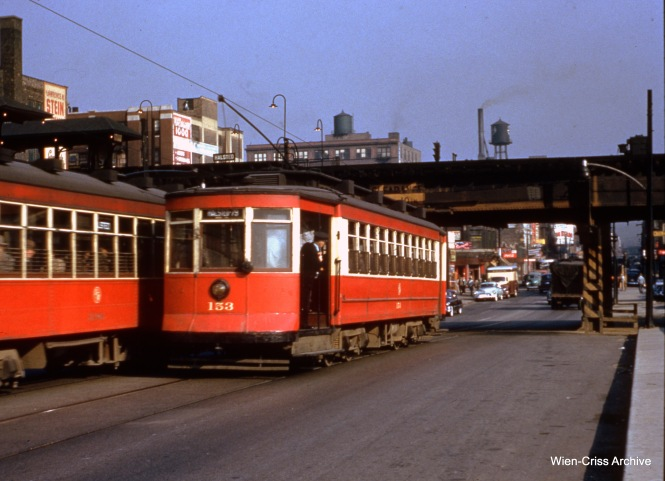 CTA 153 is northbound at Halsted and Congress on October 5, 1953. (Wien-Criss Archive)