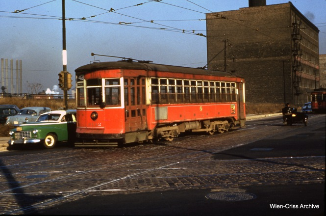 CTA 6142 at Clark and Archer on November 9, 1953, running Route 42 - Halsted Downtown. (Wien-Criss Archive)