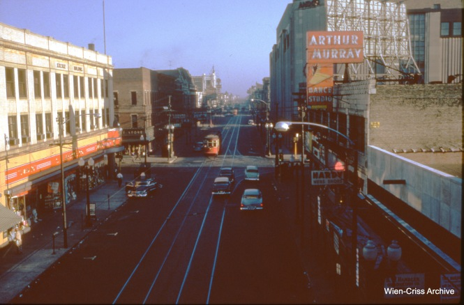 An unidentified CTA red car is on Halsted at 63rd Street on September 16, 1953. (Wien-Criss Archive)