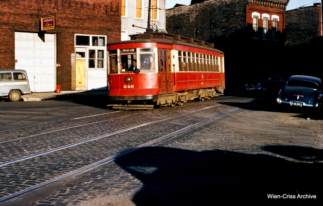 CTA 248 is at Crosby and Larrabee on May 17, 1954. (Wien-Criss Archive)