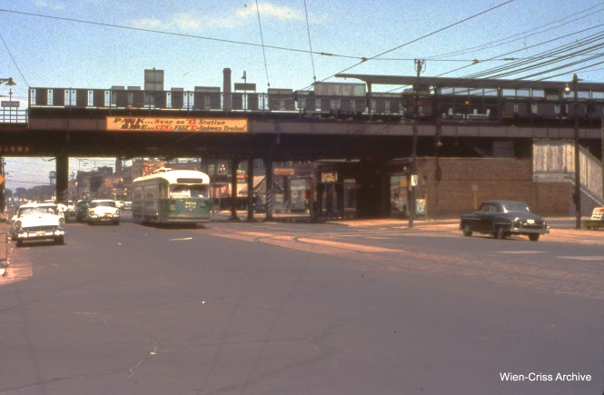 "CTA 7253 is on Western at Leland (by the Ravenswood ""L"", now the Brown Line) on June 10, 1956. (Wien-Criss Archive)"