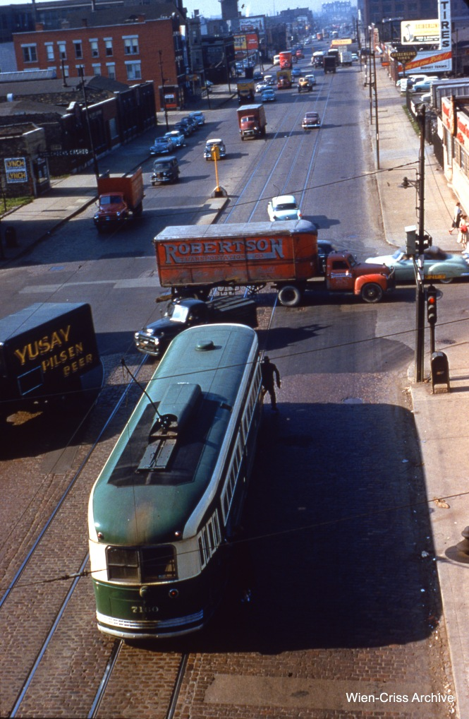 """CTA 7160, viewed from the Douglas Park """"L"""" (today's Pink Line), is operating on Western at 21st on June 15, 1955. (Wien-Criss Archive)"""