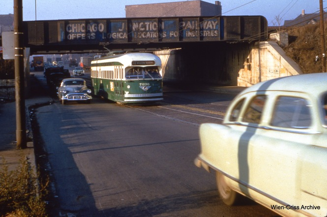 CTA 7236 is at Archer and Western on November 17, 1954. (Wien-Criss Archive)