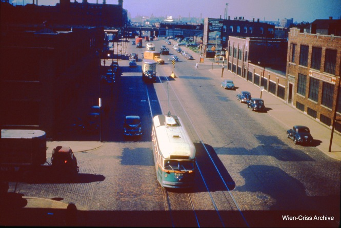 CTA 7213, the last streetcar to operate in Chicago, is on Western at 21st on July 16, 1951. (Wien-Criss Archive)