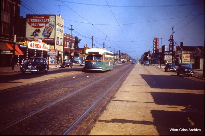 CTA 7123 on Western at 66th on July 9, 1950. (Wien-Criss Archive)