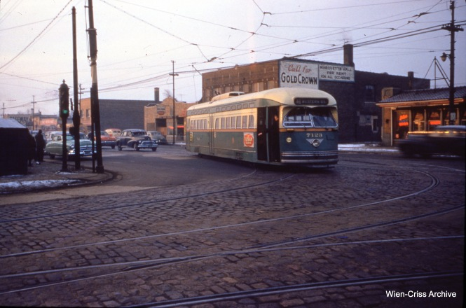 CTA 7123 at Western and 69th on January 28, 1954. (Wien-Criss Archive)