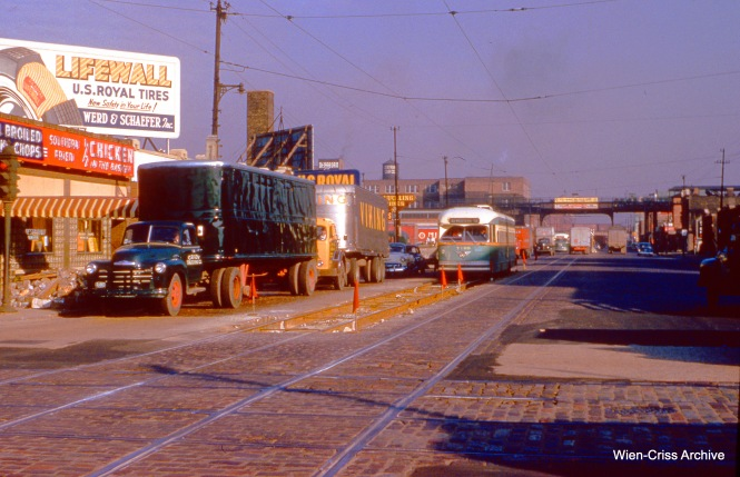 CTA 7189 is passing through an area where tracks are being worked on at Western and Cermak on October 15, 1954. (Wien-Criss Archive)