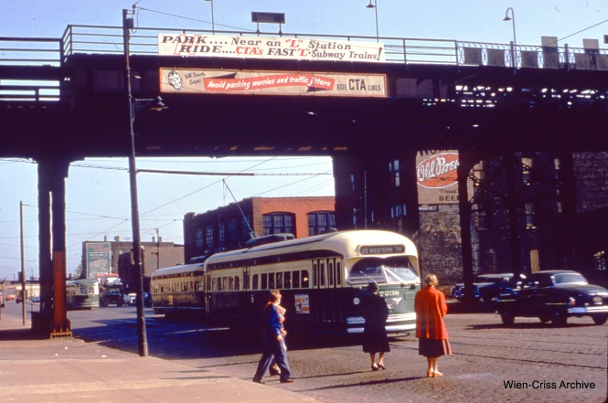 """CTA 7238 is southbound on Western at the Douglas Park """"L"""" on April 22, 1955. (Wien-Criss Archive)"""