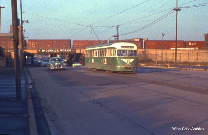 CTA 4028 is on Western at 27th on November 20, 1955. (Wien-Criss Archive)