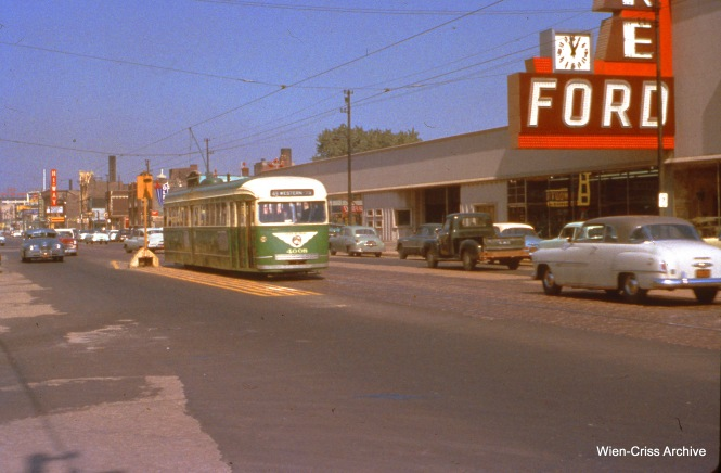 CTA 4008 is on Western at 65th on October 2, 1955. (Wien-Criss Archive)