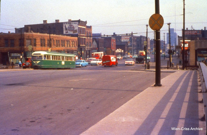 CTA 7038 is on Western at Van Buren on June 11, 1956. (Wien-Criss Archive)