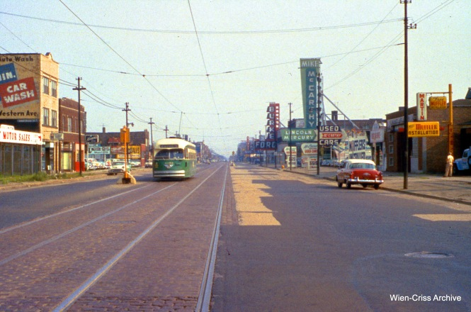 CTA 4053 on Western and 66th on July 31, 1955. (Wien-Criss Archive)