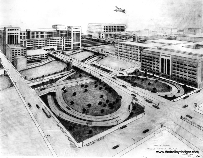 A City of Chicago rendering of the Wells Street Plaza, just east of the old Main Post Office, dated January 25, 1956.