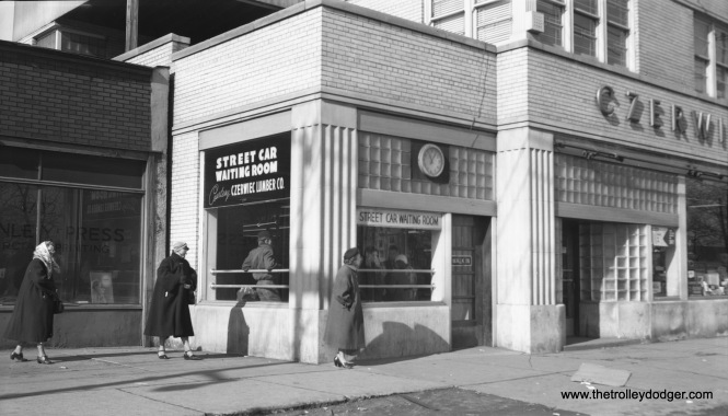 "A photo of this ""street car waiting room,"" located at 38th and Western, appeared in Bulletin 146 of the Central Electric Railfans' Association. Here is another view by Bob Selle, taken on January 30, 1954. This amenity was provided by a local merchant and, due to a fire, did not last long after the end of streetcar service in 1956."