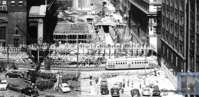 A close-up of the previous picture, showing the construction of Lower Wacker Drive.