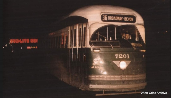 CTA PCC 7201 is heading northbound at Clark and Wells on February 16, 1957, in this photo by Charles H. Thorpe, from the Wien-Criss Archive. It was the last streetcar to operate on the State-Broadway portion of Route 36.