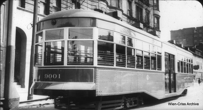 CSL 9001 was an unpowered trailer, built by the Surface Lines in 1921. Photos showing such trailers in use are quite rare, as they were only in service during the 1920s. After this, they were used as storage sheds at various CSL locations. (William C. Hoffman Collection, Wien-Criss Archive)