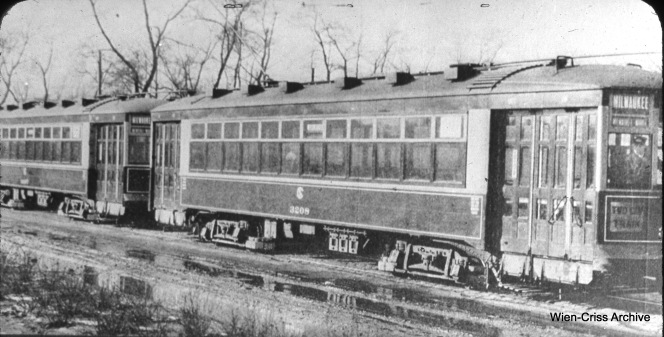 Other cities have used two-car streetcar trains extensively, notably Boston, but such use was short-lived in Chicago. Here, we see multiple-unit CSL 3208, built by the Chicago Surface Lines in 1924, operating a two-car train on Milwaukee Avenue. With a severe drop in ridership during the Great Depression, such use was no longer necessary. (William C. Hoffman Collection, Wien-Criss Archive)