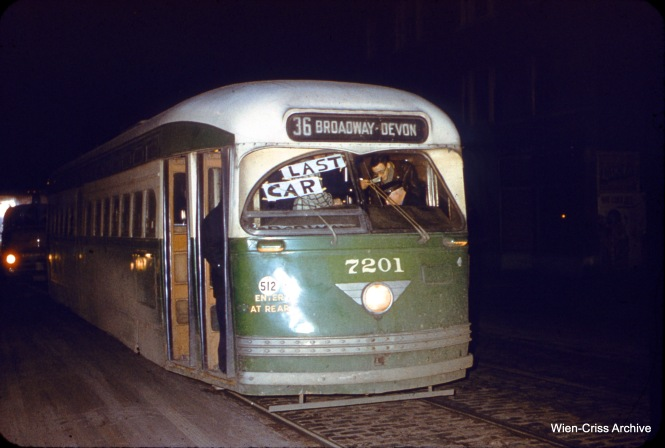 On February 16, 1957, CTA 7201 was the last streetcar to run on Route 36. Here it is seen at Clark and Devon. (Charles H. Thorpe Photo, Wien-Criss Archive)