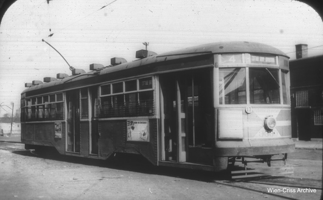 "A CTA Peter Witt, aka a ""Sedan,"" in this case 3330, signed for Cottage Grove. (William C. Hoffman Photo, Wien-Criss Archive)"