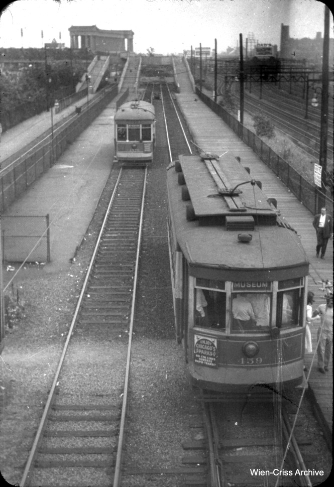 CTA 459 and one other streetcar are on the Museum Loop, at around 13th Street near Lake Shore Drive. (William C. Hoffman Photo, Wien-Criss Archive)