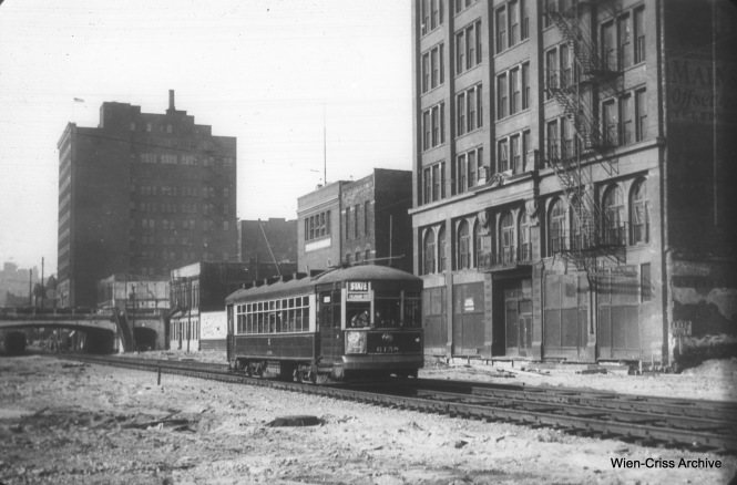 CSL 6158 is on temporary trackage at State and 13th around 1940, when construction of the State Street Subway was underway. (William C. Hoffman Photo, Wien-Criss Archive)