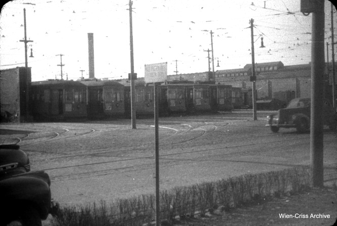 "A view of the North and Cicero car barn (aka ""station, in CSL parlance) , looking northwest from 1500 N. Cicero on March 28, 1948. (William c. Hoffman Photo, Wien-Criss Archive)"