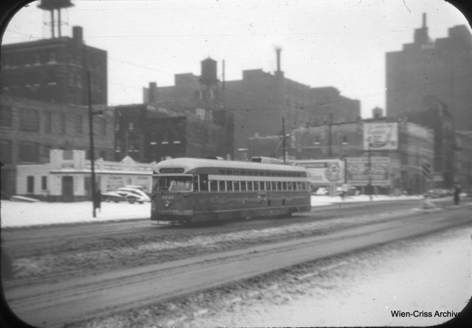CTA Pullman PCC 4240 is on State Street at 8th, operating on Route 36. (William C. Hoffman Photo, Wien-Criss Archive)