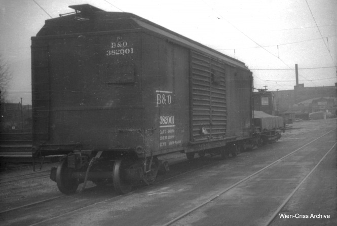 "CTA work car W205 coupled to a Baltimore and Ohio box car at 39th and Halsted on March 11, 1951. This was the location of a materials handling yard for the CTA in the streetcar era. Don's Rail Photos notes: :W205, work car, was built by Chicago City Ry in 1907 as CCRY C11. It was renumbered W205 in 1913 and became CSL W205 in 1914. It was retired on May 17, 1958."" (William C. Hoffman Photo, Wien-Criss Archive)"