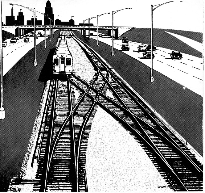 "This line art drawing of the CTA's Congress rapid transit line, aka the ""West Side Subway,"" appeared on a June 1958 track map."