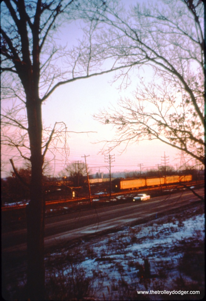 SSL train 10, made up of cars 17, 12, 202, and 22, at speed on December 26, 1963. (John D. Horachek Photo, William Shapotkin Collection)
