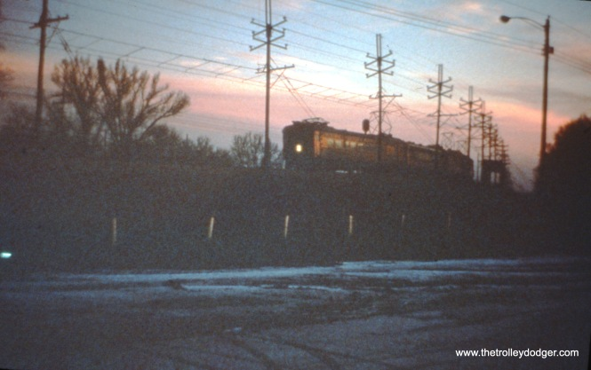 SSL cars 111, 353, 7, and 9 (train 8) at Miller at dawn on December 26, 1963. (John D. Horachek Photo, William Shapotkin Collection)