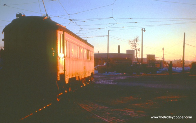 NSL car 761 (train 6) prepares to depart the Milwaukee Terminal from track 3 on January 15, 1963. (John D. Horachek Photo, William Shapotkin Collection)