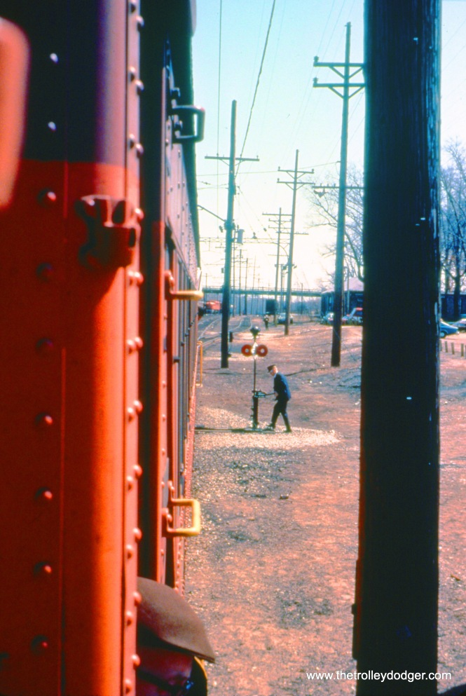 Here, an SSL conductor is hand-throwing a switch to put a railfan train onto a siding at Shops in April 1975. (John D. Horachek Photo, William Shapotkin Collection)