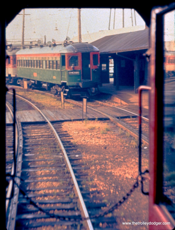 The view from the rear end of southbound train 420 at North Chicago Junction, where we see northbound train 421 and its rear car 151, in August 1959. (John D. Horachek Photo, William Shapotkin Collection)