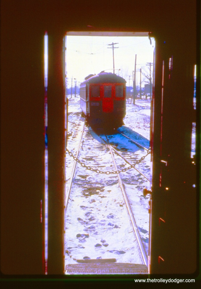 Here, we see NSL 165 through the rear door of 703 at Edison Court in Waukegan on January 16, 1963. (John D. Horachek Photo, William Shapotkin Collection)