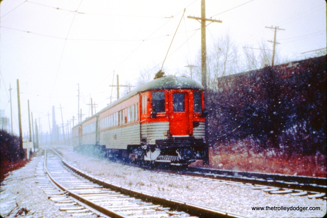 NSL train 410, made up of cars 750, 741, and 757 head uphill towards the Skokie Valley Route on December 9, 1962. (John D. Horachek Photo, William Shapotkin Collection)
