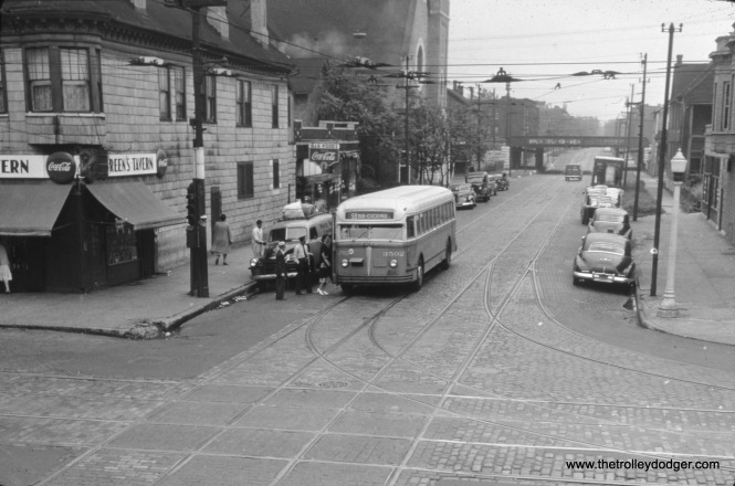 Chicago Surface Lines bus 3502 is on 59th at Wentworth on 1946. (William Shapotkin Collection)