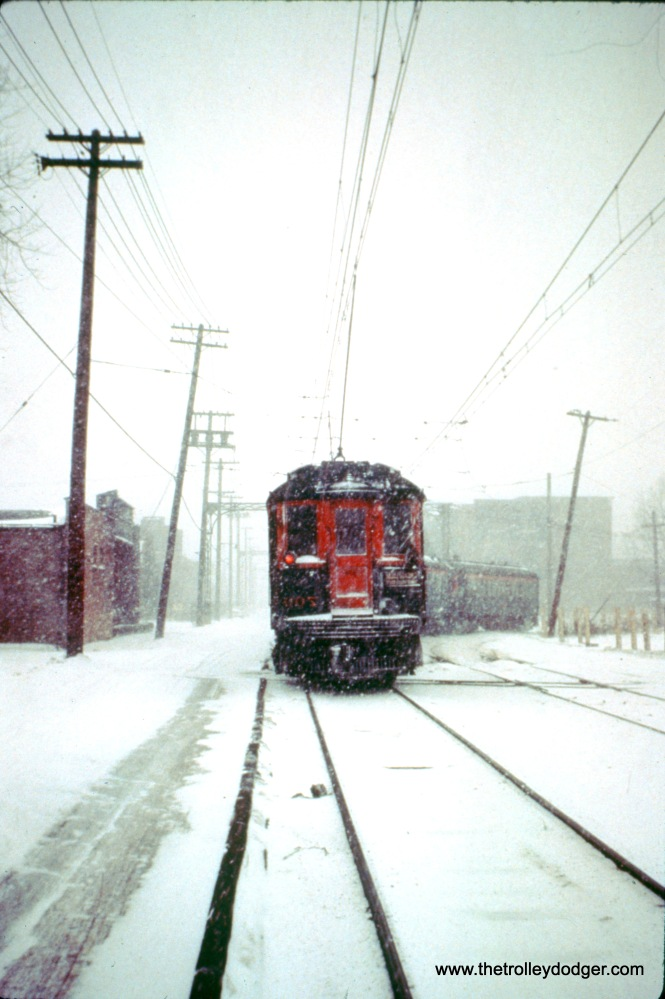 NSL train 216, with cars 731, 703, 733, and 700 at 22nd Street in North Chicago on January 19, 1963. (John D. Horachek Photo, William Shapotkin Collection)