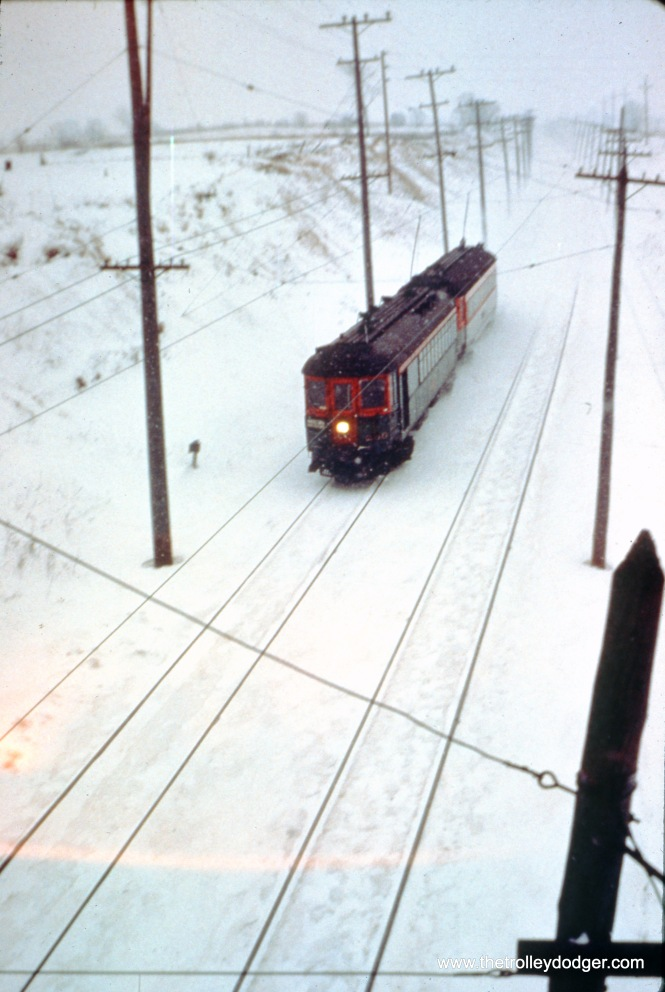 On February 2, 1962, NSL train 417, made up of cars 250 and 763, is northbound at College Avenue in Milwuakee. (John D. Horachek Photo, William Shapotkin Collection)