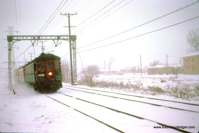 NSL train 417, with cars 720, 738, and 759, heads north approaching Dempster Street on January 19, 1963. (John D. Horachek Photo, William Shapotkin Collection)