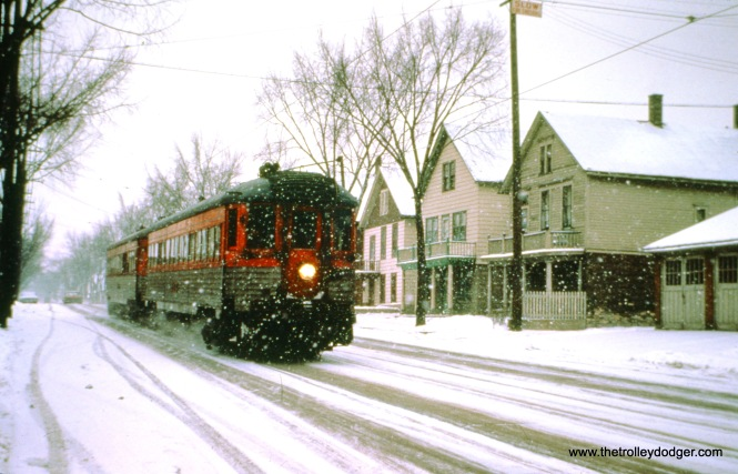 NSL train 409 with cars 775 and 757 on 5th Street at Becher Street in Milwaukee on December 31, 1962. (John D. Horachek Photo, William Shapotkin Collection)