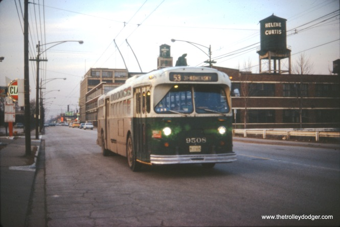 CTA 9508 is heading southbound on Route 53 - Pulaski Road on February 4, 1973. (William Shapotkin Collection)